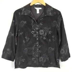 Fresh Produce Shirt Floral Corduroy Embroidered